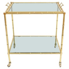 Faux Bamboo Brass Bar Cart with Removable Glass Tray