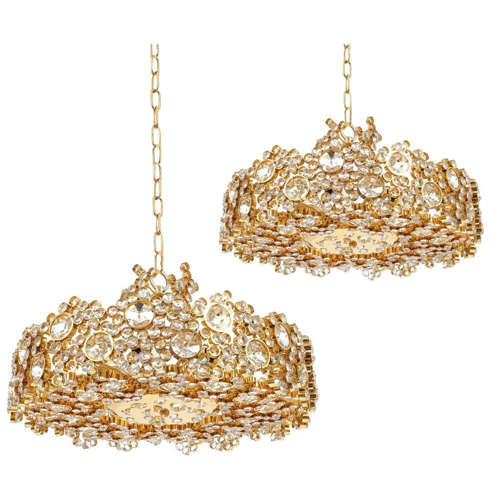 One of Four Palwa Crystal Glass Gold Plated Brass Chandeliers Refurbished, 1960