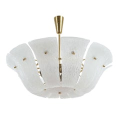 J.T. Kalmar Ceiling Lamp Chandelier with Curved and Textured Glass, Austria 1960