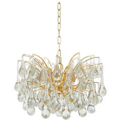 Delicate Murano Glass and Brass Tear Drop Chandelier