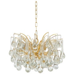 Delicate Murano Glass and gilded Brass Tear Drop Chandelier, 1970