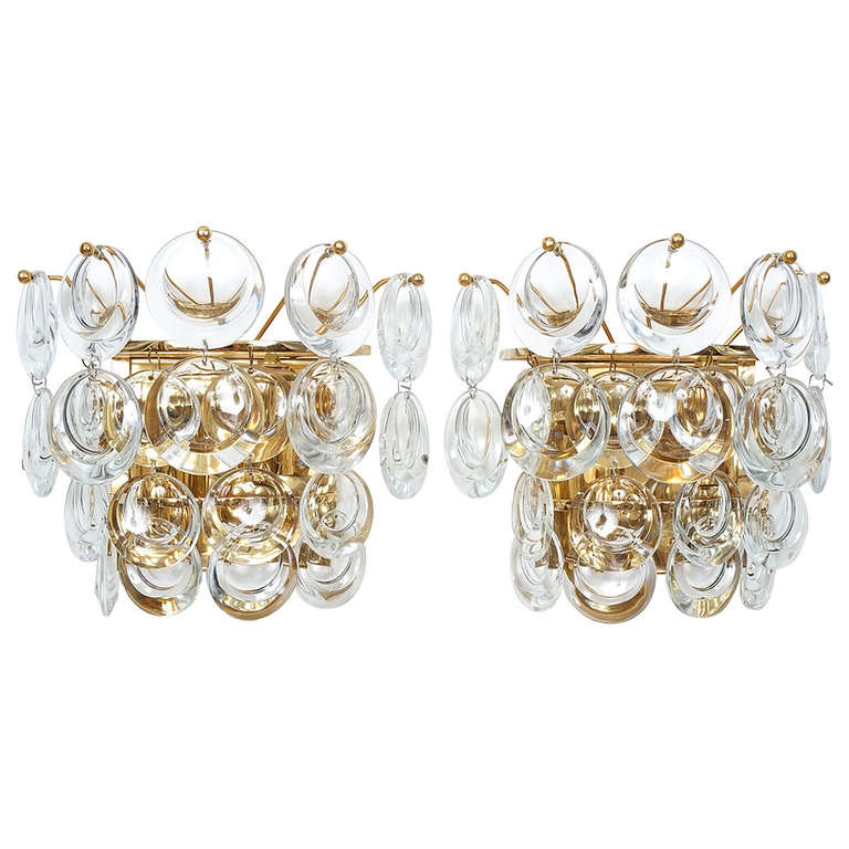 Palwa Pair Delicate Gold Plated Brass and Crystal Sconces Wall Lamps, 1960