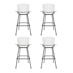 Pair of Vintage Harry Bertoia Bar Stools Black & White