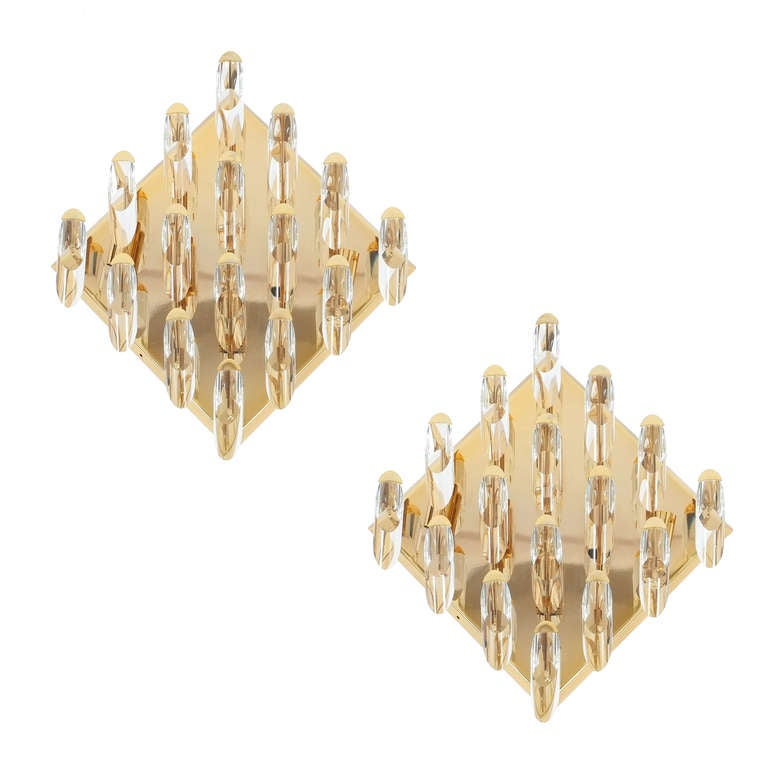 Italian Crystal Wall Lights : Pair of Italian Crystal, Gilded Brass Flush Mount Wall Lights at 1stdibs