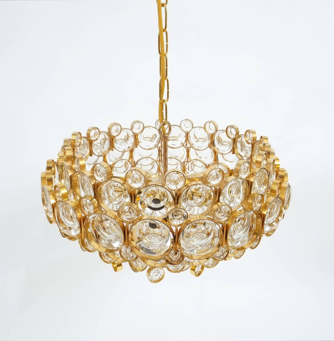 Mid-Century Modern Large Gold Palwa Brass and Glass Chandelier Lamp, Germany 1960 For Sale
