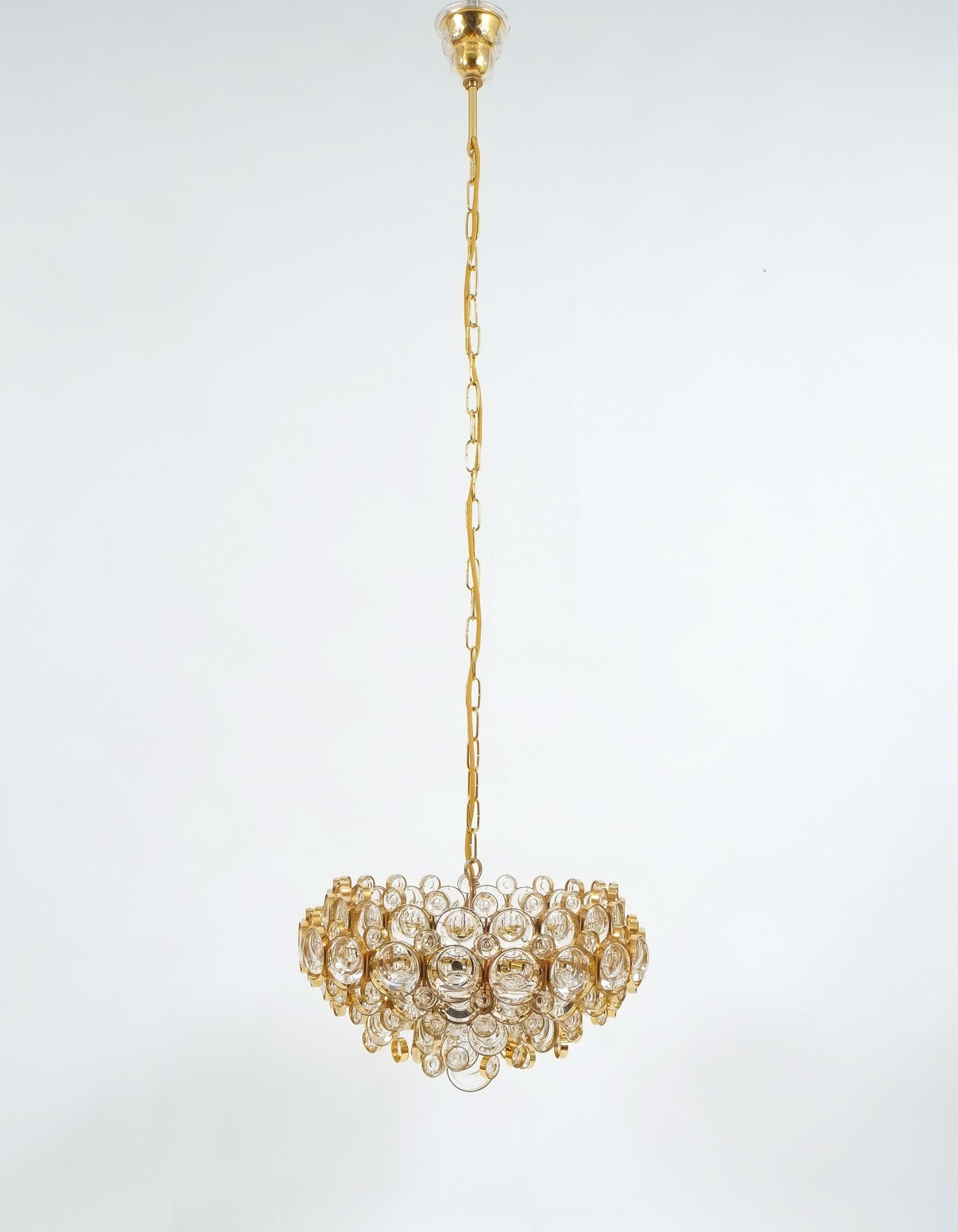 Gilt Large Gold Palwa Brass and Glass Chandelier Lamp, Germany 1960 For Sale
