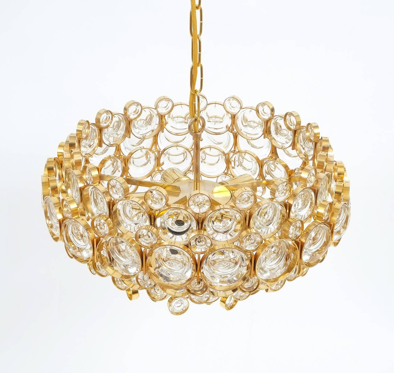 Mid-20th Century Large Gold Palwa Brass and Glass Chandelier Lamp, Germany 1960 For Sale
