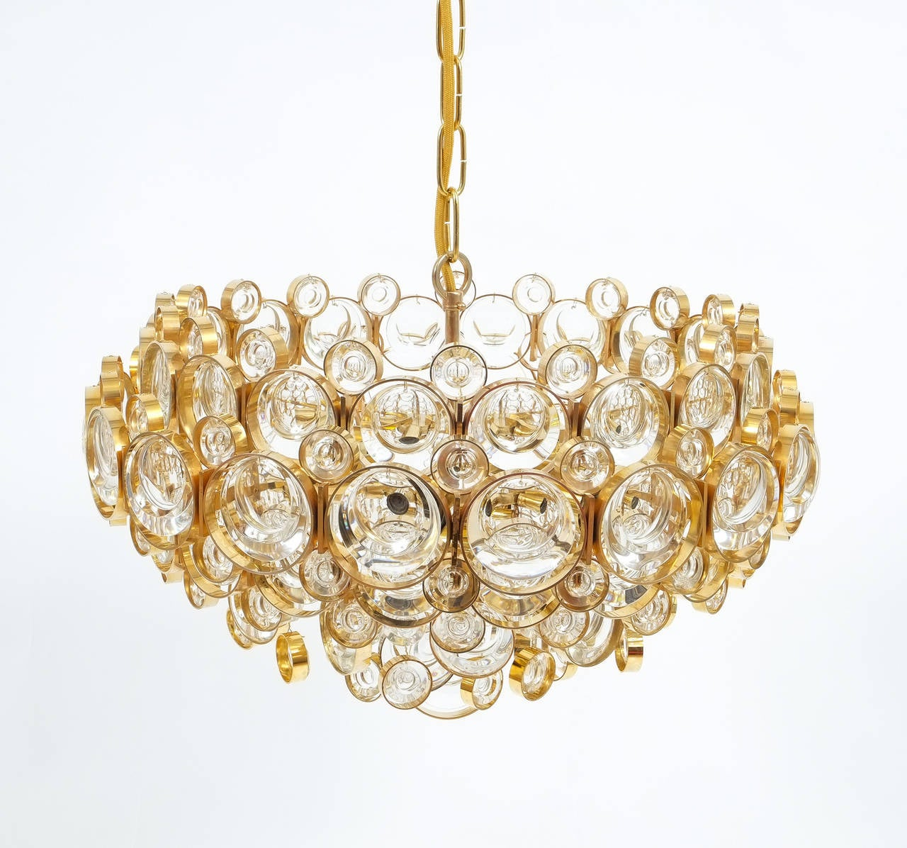 Large Gold Palwa Brass and Glass Chandelier Lamp, Germany 1960 For Sale 1