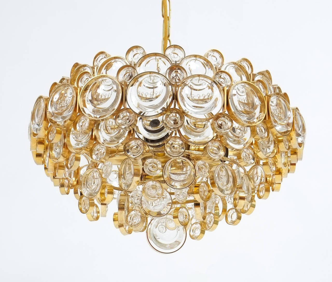 Large Gold Palwa Brass and Glass Chandelier Lamp, Germany 1960 For Sale 2