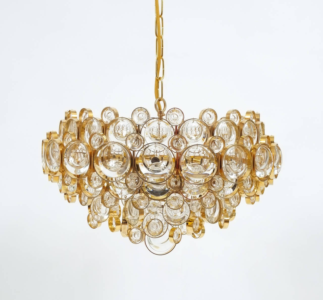 Large Gold Palwa Brass and Glass Chandelier Lamp, Germany 1960 For Sale 3
