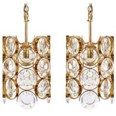 Pair of Gilt Brass Glass Palwa Pendant Lights