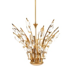 Italian Crystal Brass Bunch Chandelier