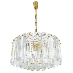 J.T. Kalmar Tiered Crystal Glass and Gold Brass Chandelier Lamp, Austria 1960