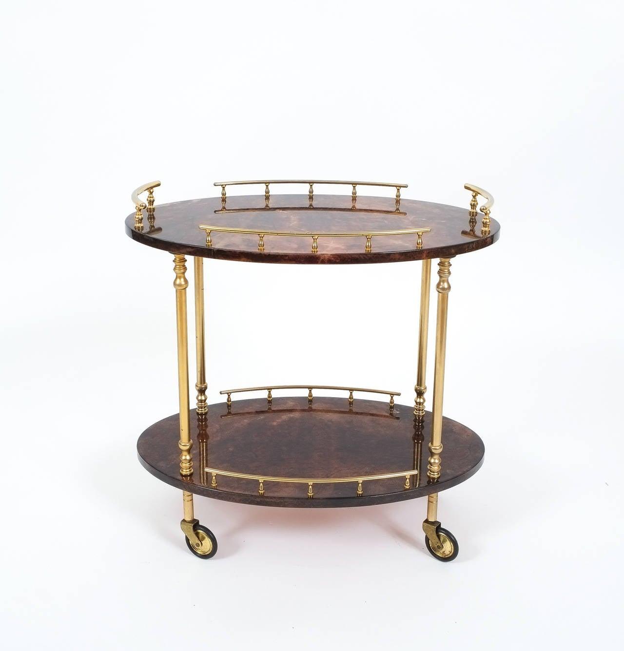 aldo tura petite bar cart or side table at 1stdibs. Black Bedroom Furniture Sets. Home Design Ideas