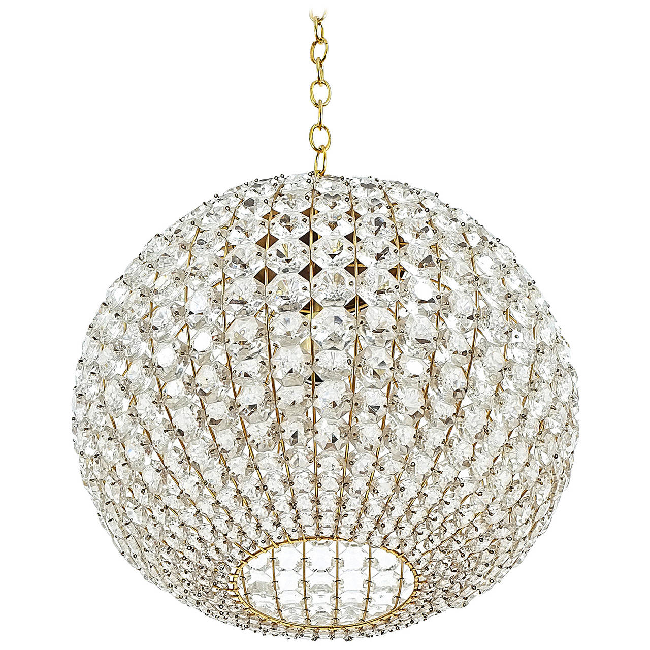 Large ball shaped crystal chandelier lamp austria circa 1960 for large ball shaped crystal chandelier lamp austria circa 1960 for sale aloadofball Image collections