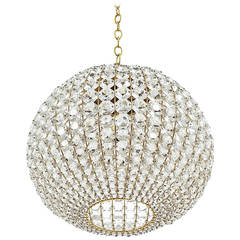 Large Ball Shaped Crystal Chandelier Lamp Austria, circa 1960