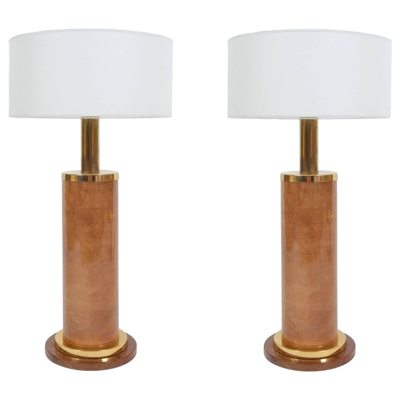 Aldo Tura Pair of Large Table Lamps Parchment, Italy, circa 1960