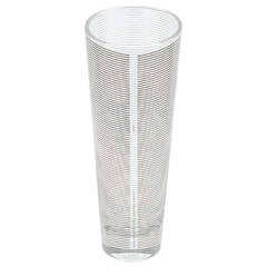 Conical Glass Silver Lining Vase by Sottsass Associati