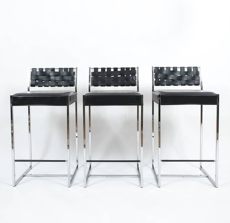 Nice Set Of Three Arrben Italy Leather And Chrome Bar Stools These Are
