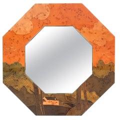 Jean Claude Mahey Paris Octagonal Marquetry Mirror, 1970