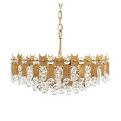 "Delicate 20"" Palwa Glass and Brass Chandelier, Lamp 1960"