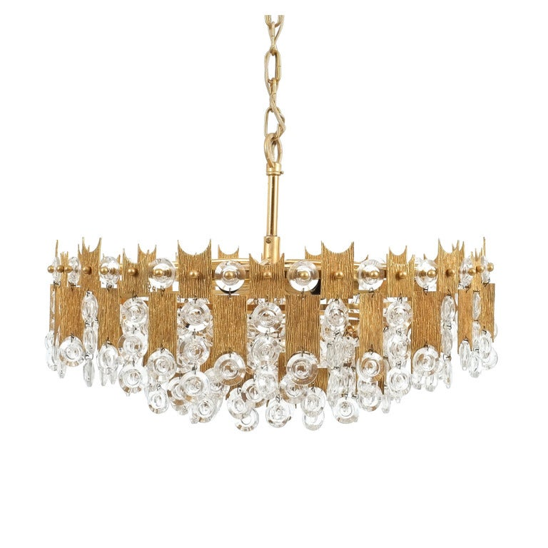 """Delicate 20"""" Palwa Glass and Brass Chandelier, Lamp 1960"""