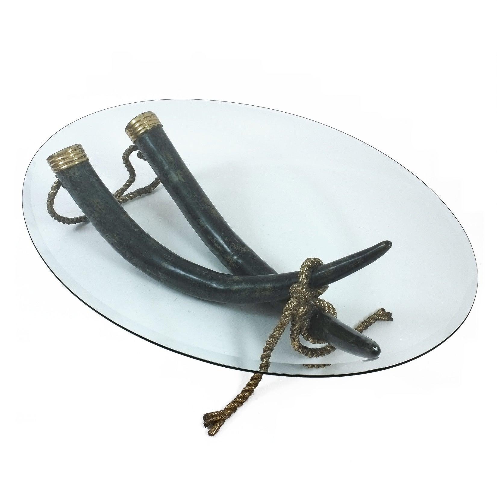 Large Bronze Brass Elephant Tusk Table Base by Italo Valenti