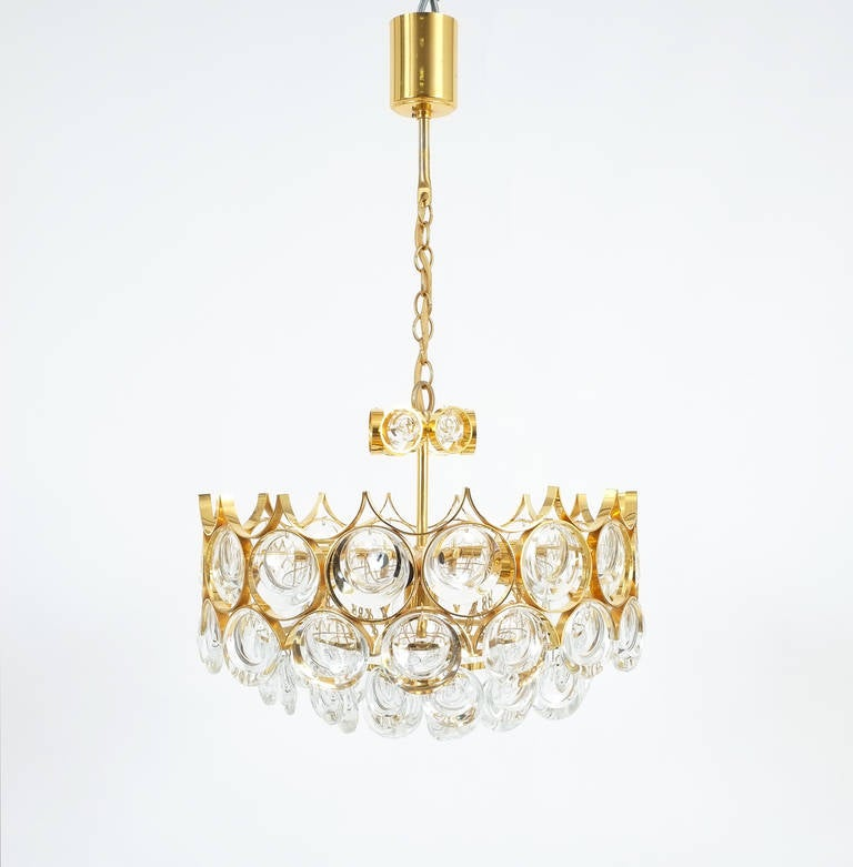 Palwa pair of petite gold brass glass chandeliers lamps refurbished mid century modern palwa pair of petite gold brass glass chandeliers lamps refurbished 1960 aloadofball Image collections