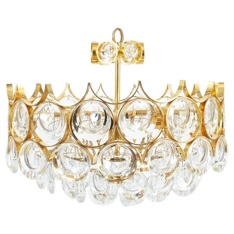 Palwa pair of petite gold brass glass chandeliers lamps refurbished palwa pair of petite gold brass glass chandeliers lamps refurbished 1960 for sale aloadofball Image collections