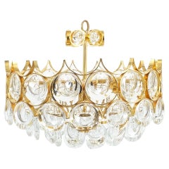 Two Palwa Petite Gold Brass Glass Chandeliers Lamps Refurbished, 1960