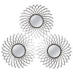 Set of Three French Iron Sun Mirrors
