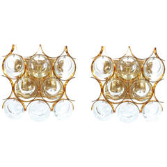Pair of Gilded Brass and Crystal Sconces by Palwa