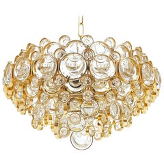 Large Gold Palwa Brass and Glass Chandelier Lamp, Germany 1960