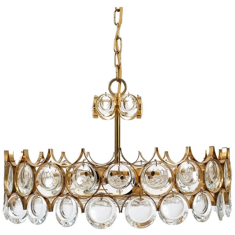 Beautiful Gilt Brass and Glass Chandelier by Palwa at 1stdibs – Brass and Glass Chandelier