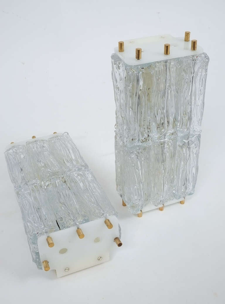 Mid-Century Modern Mazzega Pair Of Glass and Brass Block Sconces, Italy 1950 For Sale