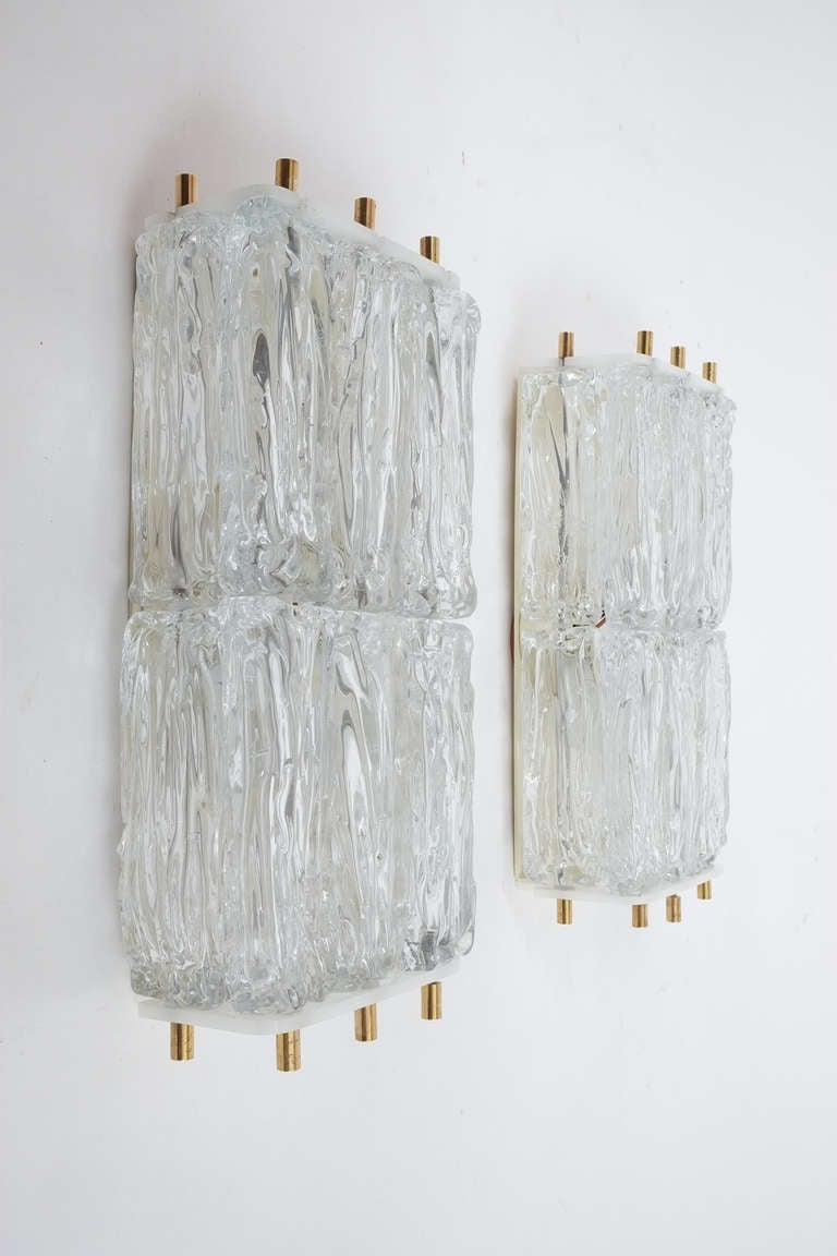 Mazzega Pair Of Glass and Brass Block Sconces, Italy 1950. Very large a beautiful pair of textured glass block sconces from Mazzega/Italy in excellent condition.