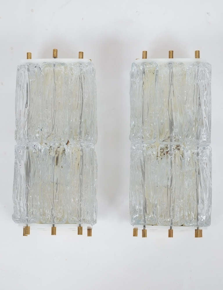 Mid-20th Century Mazzega Pair Of Glass and Brass Block Sconces, Italy 1950 For Sale
