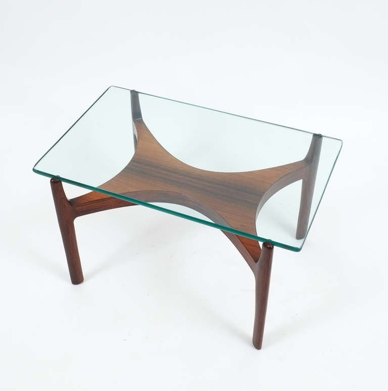 Sven Ellekaer Petite Coffee Or Side Table Teak Wood And Glass