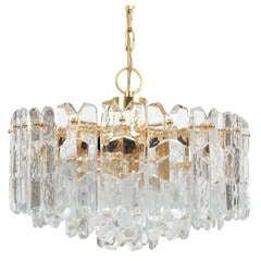 J.T. Kalmar Gold Brass Tiered Crystal Glass Chandelier Palazzo Lamp, circa 1960