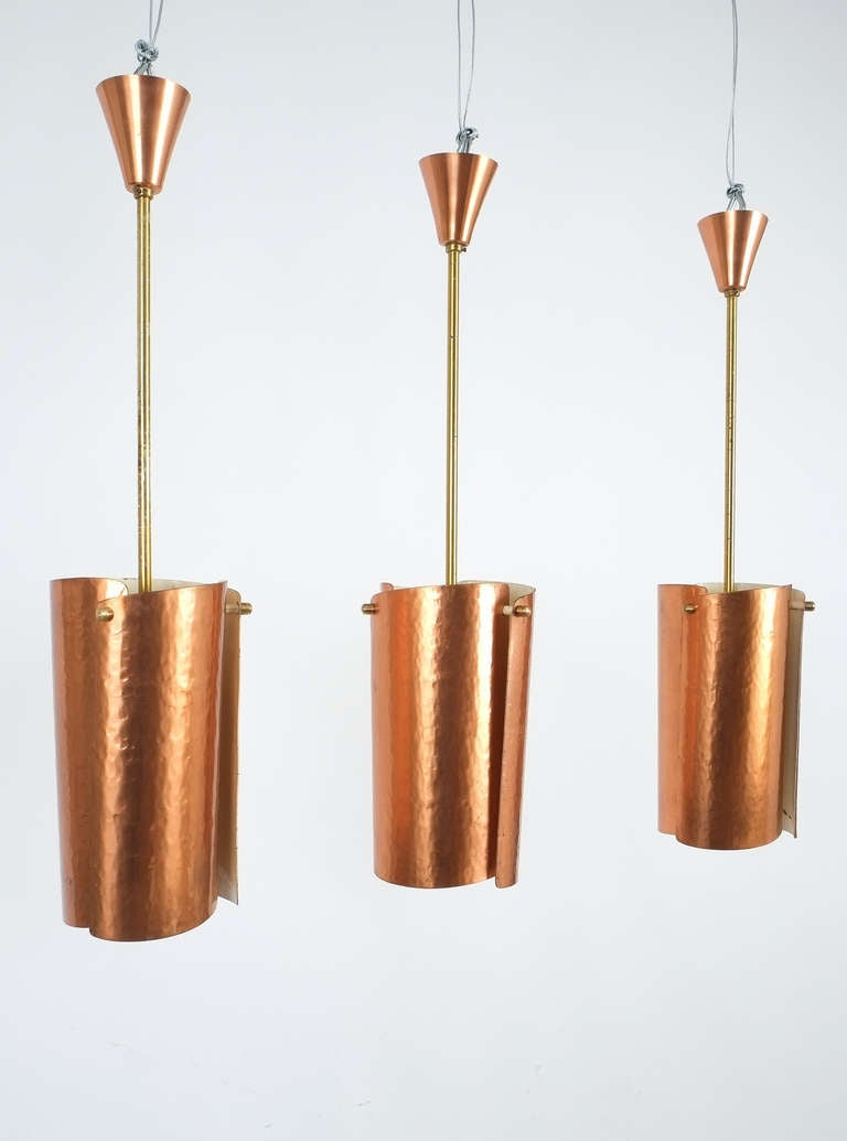 Mid-Century Modern One of Three Copper and Brass Pendant Lamps, Italy, 1950