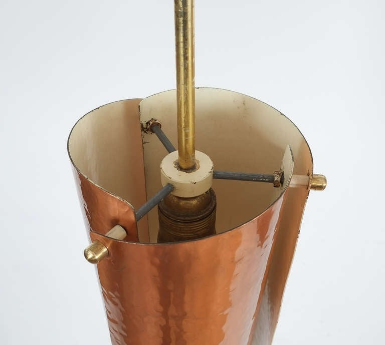 One of Three Copper and Brass Pendant Lamps, Italy, 1950 1
