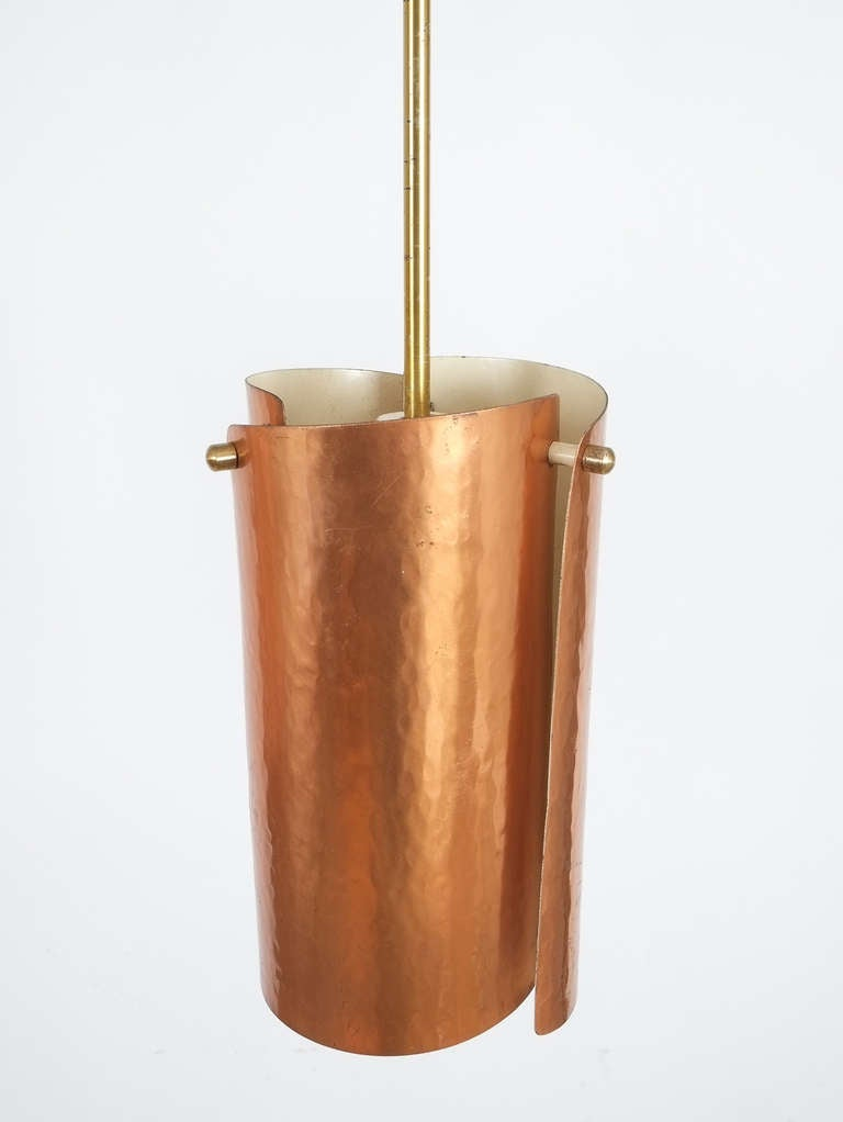 One of Three Copper and Brass Pendant Lamps, Italy, 1950 In Good Condition In Vienna, AT