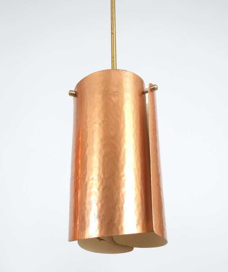 Italian One of Three Copper and Brass Pendant Lamps, Italy, 1950