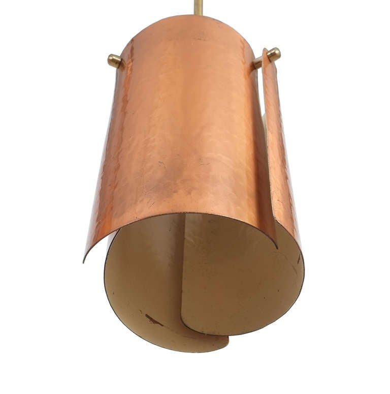 Mid-20th Century One of Three Copper and Brass Pendant Lamps, Italy, 1950