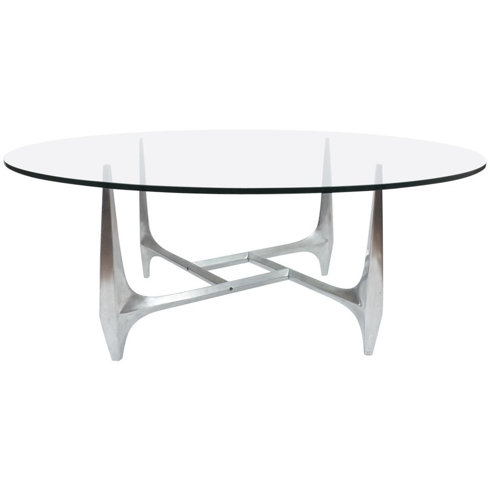 Sculptural Aluminum Coffee Table by Knut Hesterberg