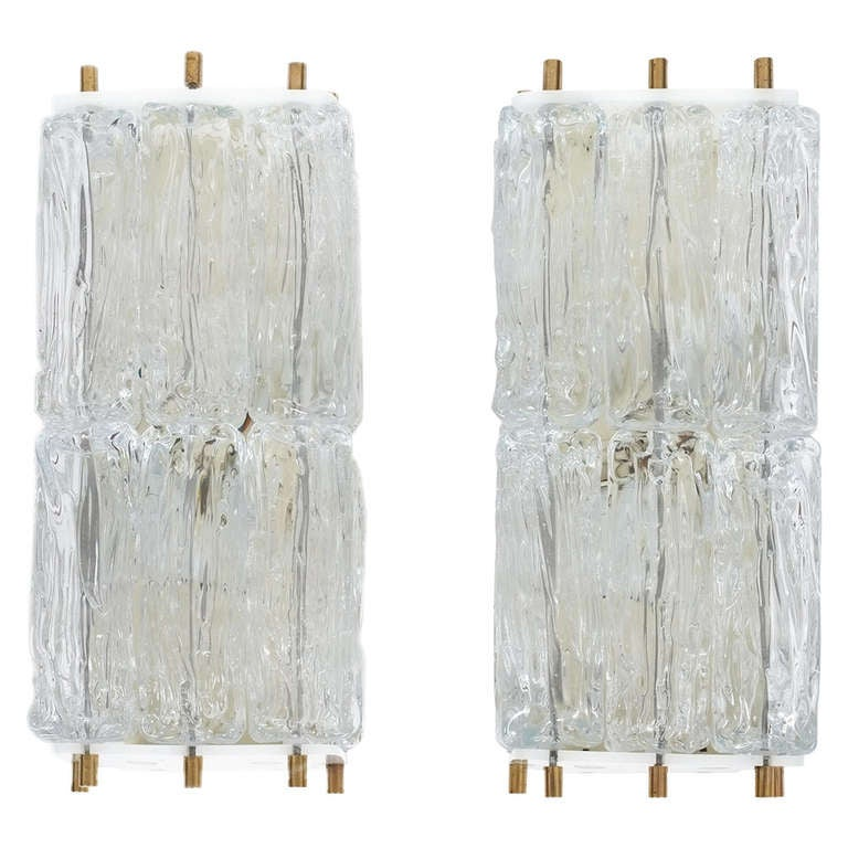 Mazzega Pair Of Glass and Brass Block Sconces, Italy 1950