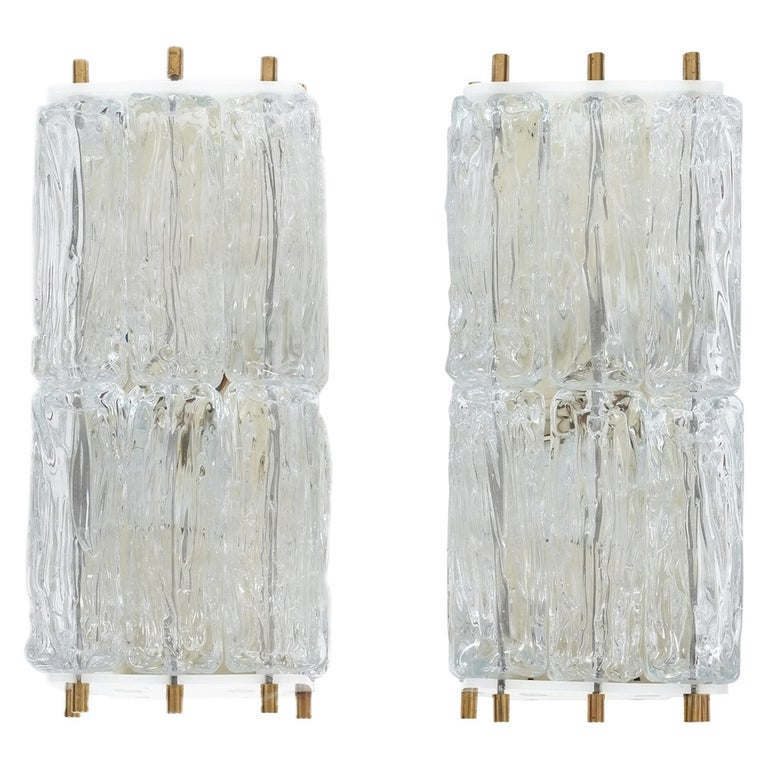 Mazzega Pair Of Glass and Brass Block Sconces, Italy 1950 For Sale