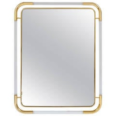 Large Lucite and Brass Mirror in the Style of Romeo Rega