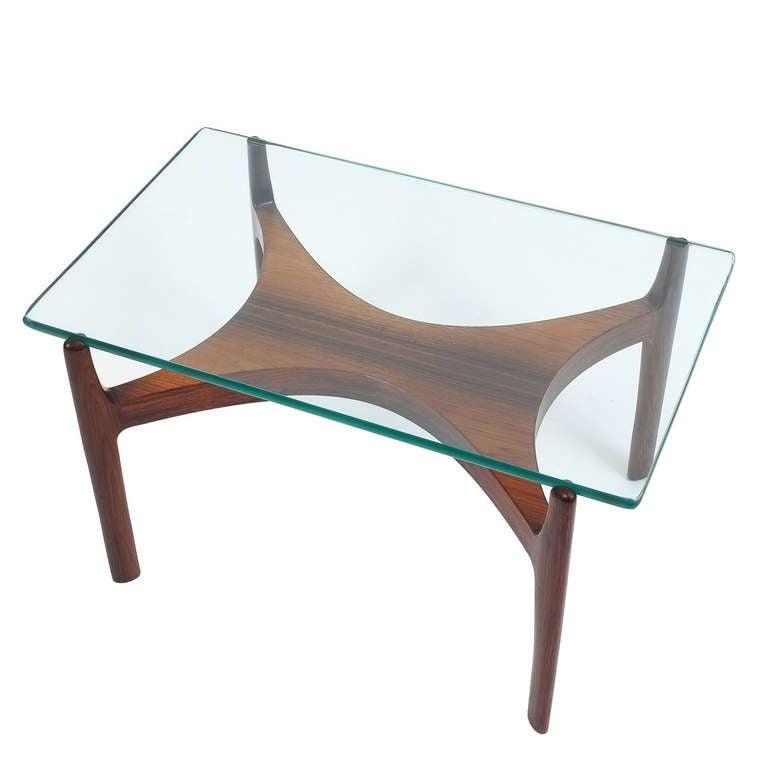Sven Ellekaer Petite Coffee or Side Table Teak Wood and Glass, Denmark, 1960