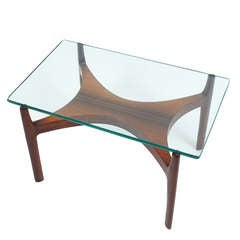 Sven Ellekaer Petite Coffee or Side Table Teak Wood and Glass, Denmark, 1960